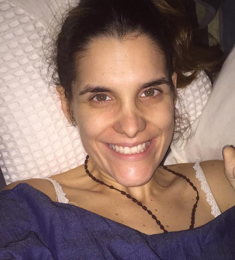 Ingrid, el día de su última sesión de quimioterapia